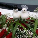 3.2 Gesteck mit stehenden Trauringen u. 2 weißen Tauben u. Blumen d. Saison, € 99,-